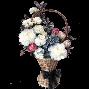 КОРЗИНА с искусственными цветами – Пионами, Гортензией, Тюльпанами и Гвоздикой 35Х70см