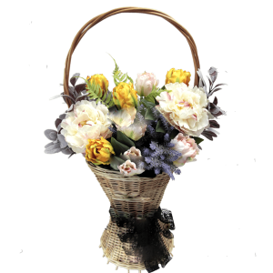 КОРЗИНА с искусственными цветами – Пионамии Тюльпанами 35Х70см