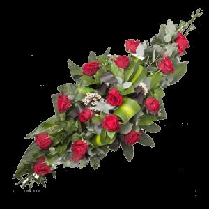 ВЕНОК ИЗ ИСКУССТВЕННЫХ ЦВЕТОВ – Красной розы 110х70