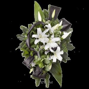 ВЕНОК ИЗ ИСКУССТВЕННЫХ ЦВЕТОВ – Белой лилии70х110см