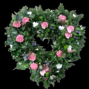 ВЕНОК из искусственных цветов – Розовой и белой гвоздики и зелени 60х60см