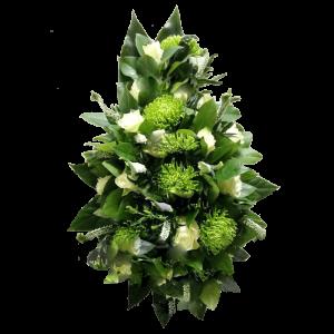 ВЕНОК из искусственных цветов – Белой розы и хризантемы 110х70см