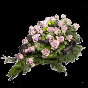 ВЕНОК из искусственных цветов – Светло-сиреневой розы и зеленой хризантемы 110х70см