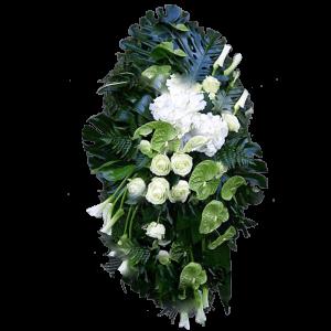 ВЕНОК из искусственных цветов – Белой розы, гортензии, антуриума и каллы 70х120см