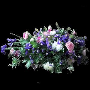 ВЕНОК из искусственных цветов – Белой хризантемы, розовой гвоздики  и 110х70см