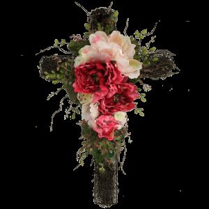 Траурный КРЕСТ из искусственных цветов – 100 см
