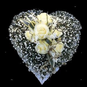 ВЕНОК ИЗ ИСКУССТВЕННЫХ ЦВЕТОВ – Белой розы 60х60 СМ