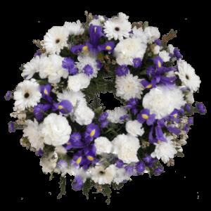 ВЕНОК из искусственных цветов – Белой герберы, ирисов и белой гвоздики 60х60см