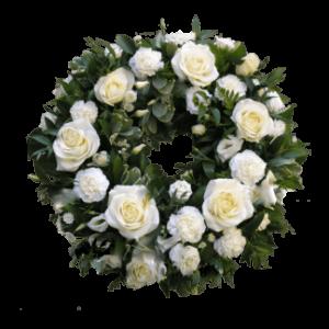 Траурный ВЕНОК из искусственных цветов – Белой розы и гвоздики 50х50см