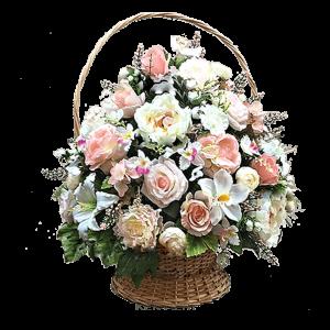Искусственная траурная КОРЗИНА – Бело-розовая 50х70см