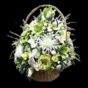 Искусственная КОРЗИНА на похороны – Бело-желтая 50х70см