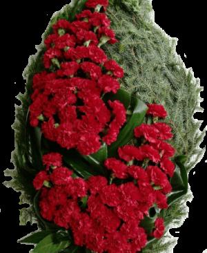 Траурный венок из красных гвоздик