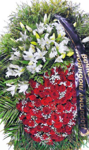 Венок из живых цветов №02-100 см.