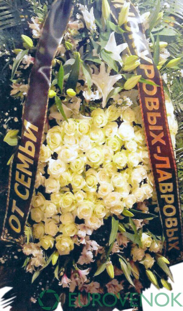 Венок из живых цветов №03-1