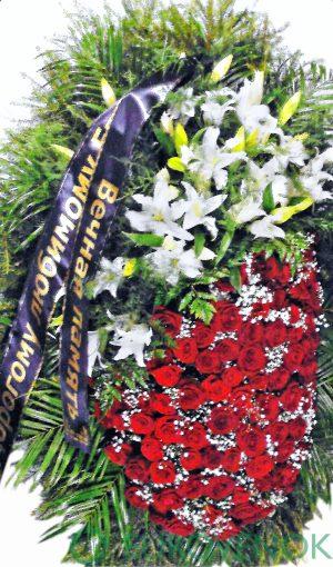 Венок из живых цветов №11-100 см .