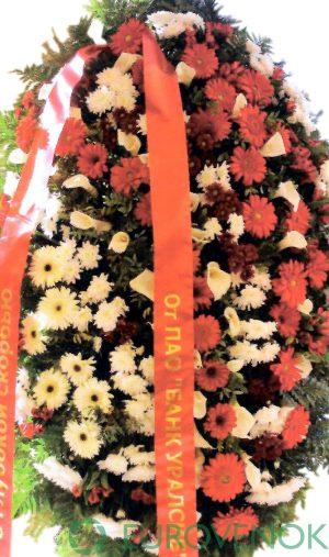 .Венок из живых цветов №45. 100 см.
