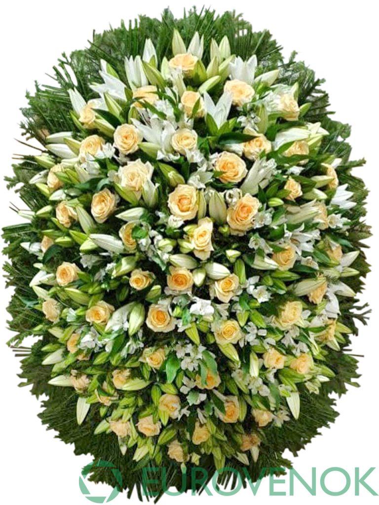 Венок из живых цветов №01-1