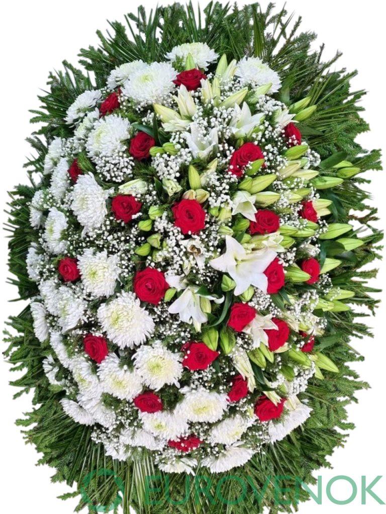 Венок из живых цветов №09-1